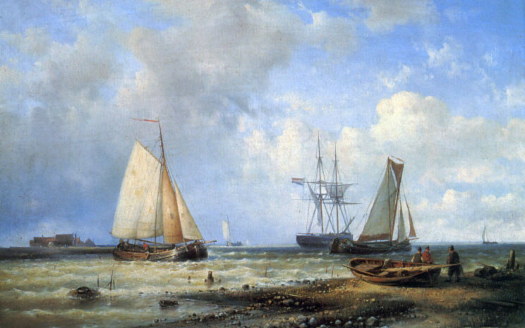 Fishing Vessels by the Shore :: Louis Verboeckhoven - Sea landscapes with boats ôîòî