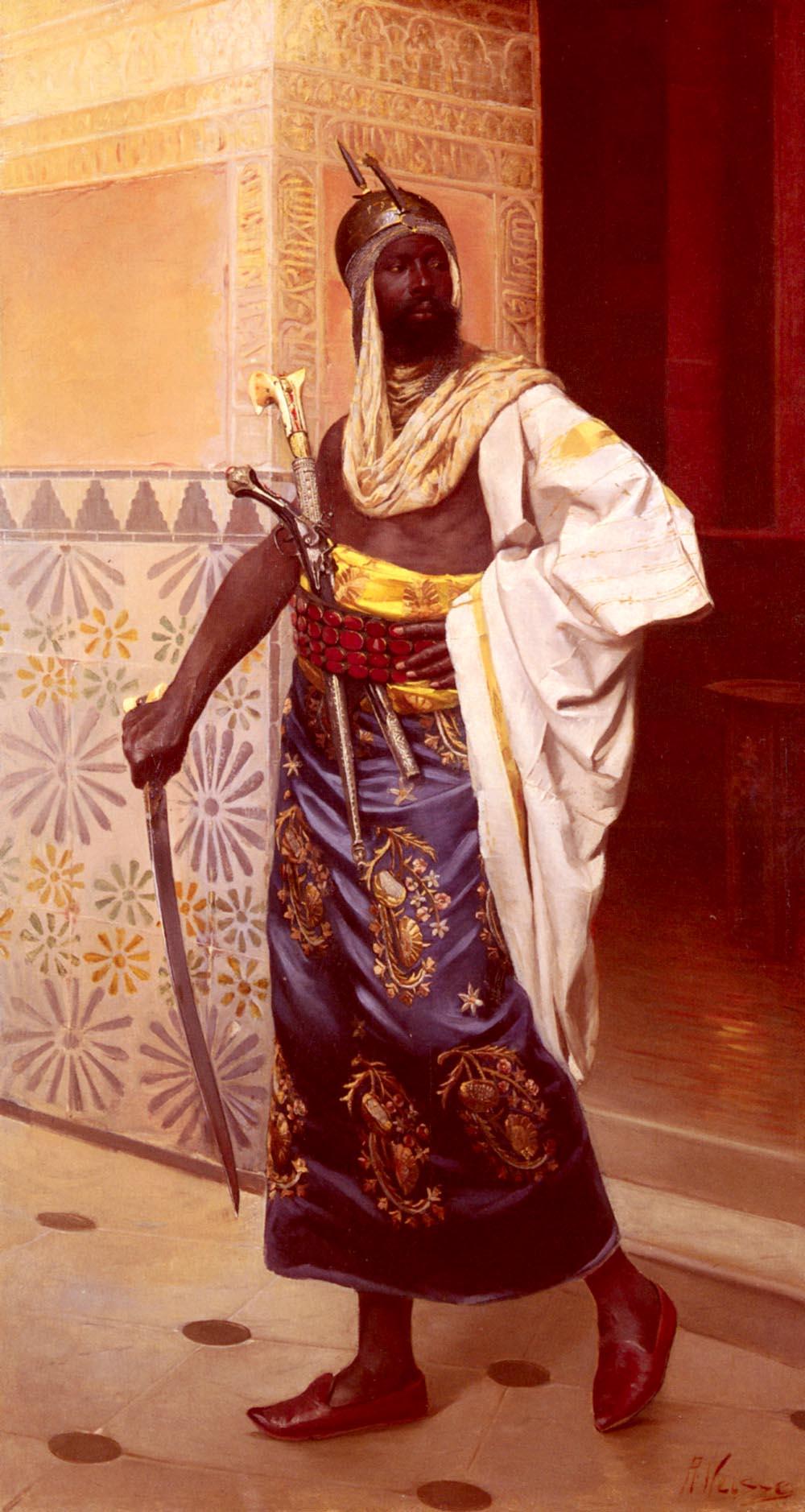 A Nubian Guard :: Rudolphe Weisse - scenes of Oriental life (Orientalism) in art and painting ôîòî