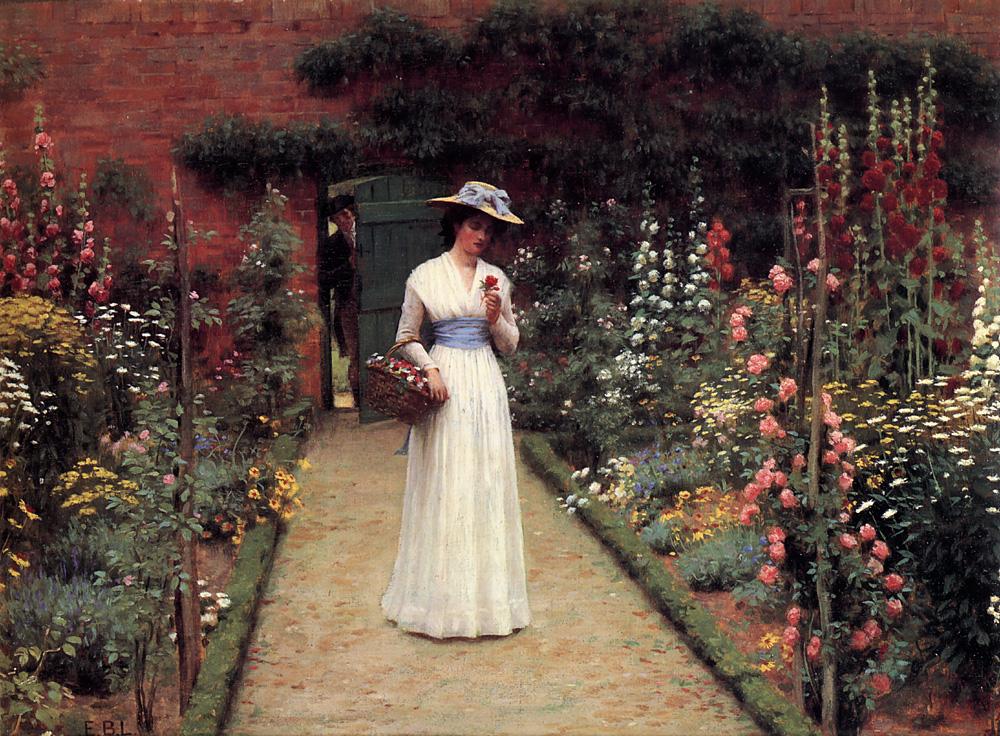 Lady in a Garden :: Edmund Blair Leighton - Summer landscapes and gardens ôîòî