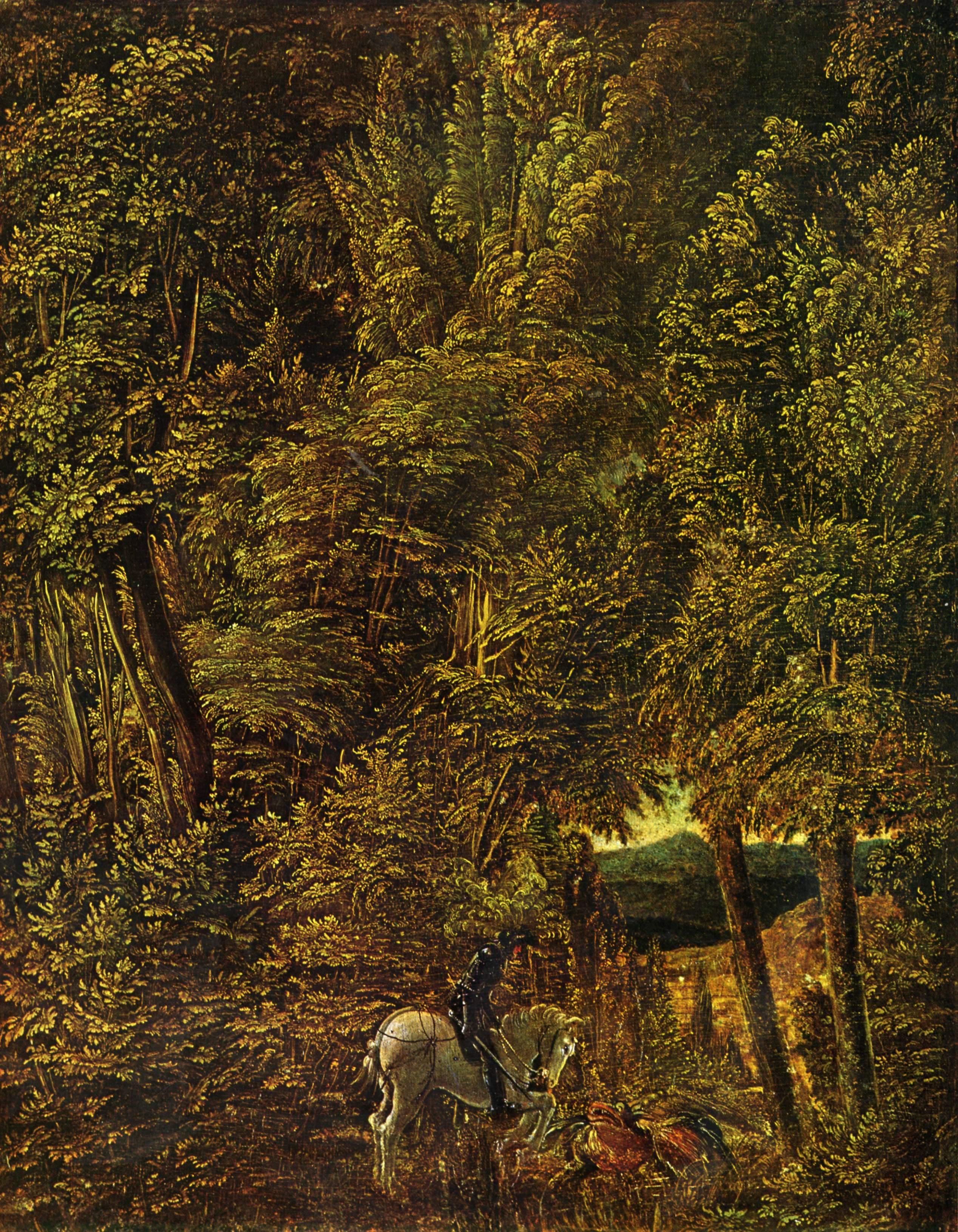 St. George in the Forest, 1510, Alte Pinakothek, Munich :: Albrecht Altdorfer - user art painting gallery ôîòî