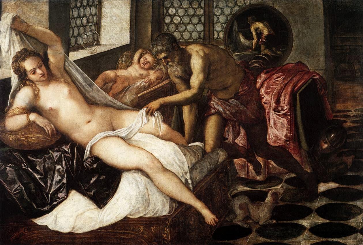 Venus, Mars, and Vulcan :: Jacopo Tintoretto - nu art in mythology painting ôîòî
