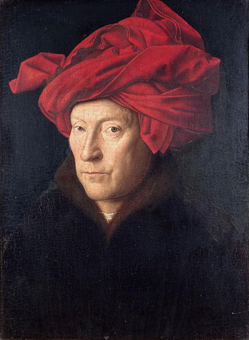 Portrait of a man in a red turban (Self-portrait?) :: Jan van Eyck - men's portraits 15th century hall ôîòî