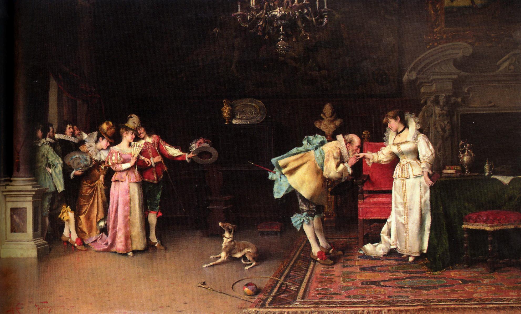 Old Fashioned Gallantry :: Adriano Cecchi - Romantic scenes in art and painting ôîòî