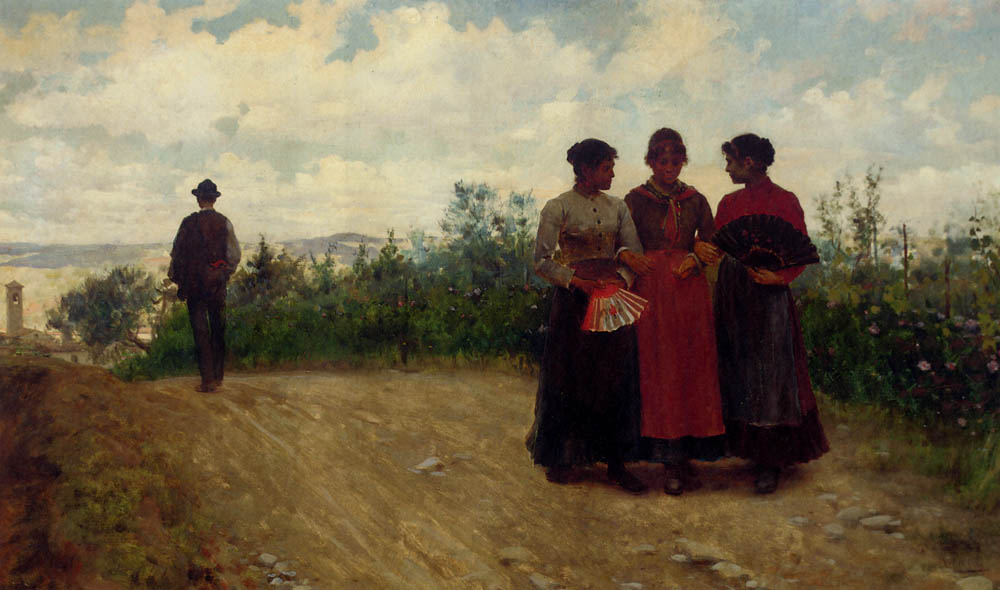 Gossips In The Roman Campagna :: Arturo Faldi - Romantic scenes in art and painting ôîòî