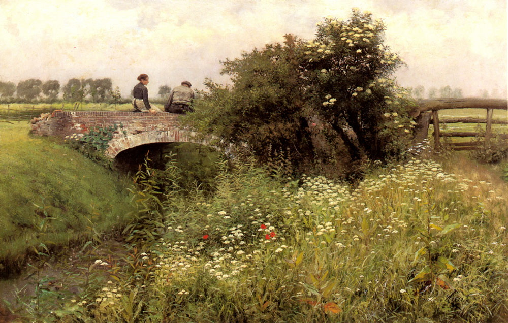 A Meeting on the Bridge :: Emile Claus - Romantic scenes in art and painting ôîòî