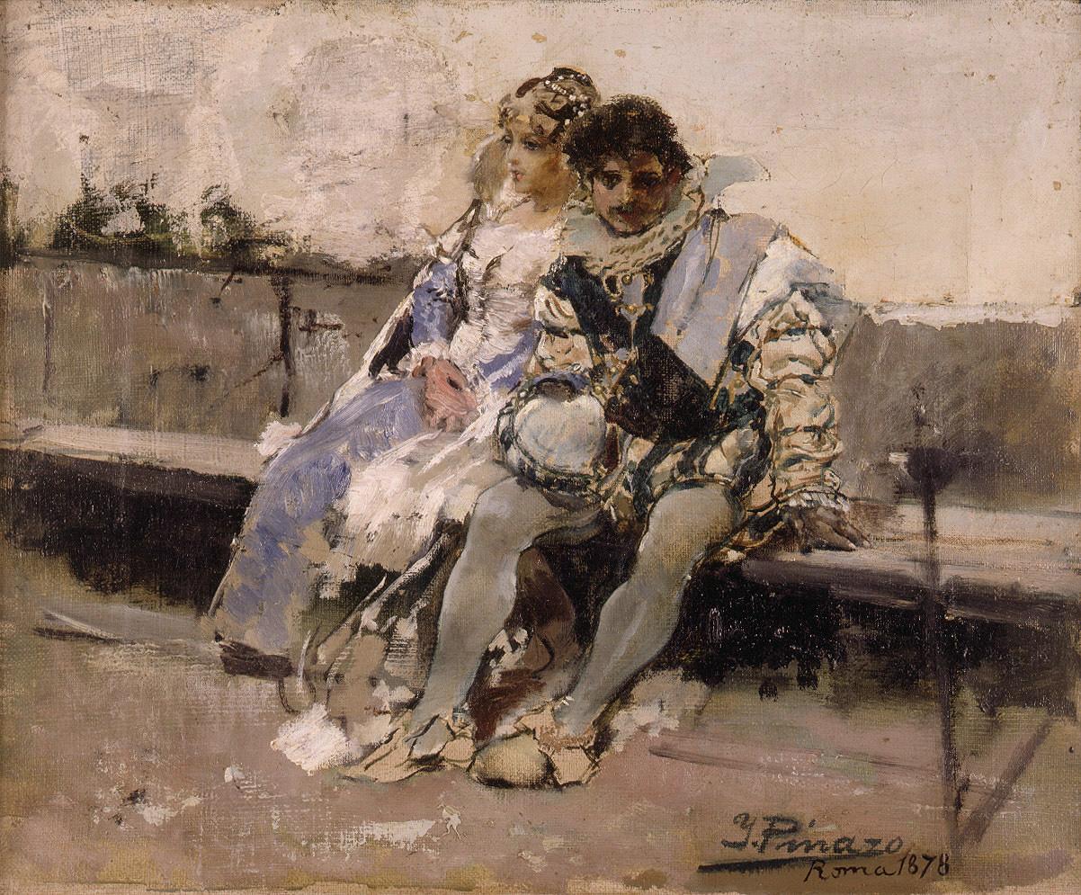Enamorados :: Ignacio Pinazo Camarlench - Romantic scenes in art and painting ôîòî