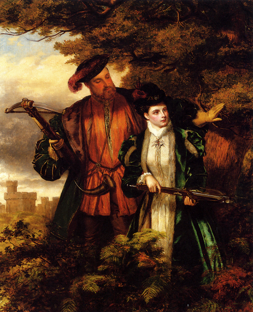 Henry VIII and Anne Boleyn Deer Shooting In Windsor Forest :: William Powell Frith - Romantic scenes in art and painting ôîòî