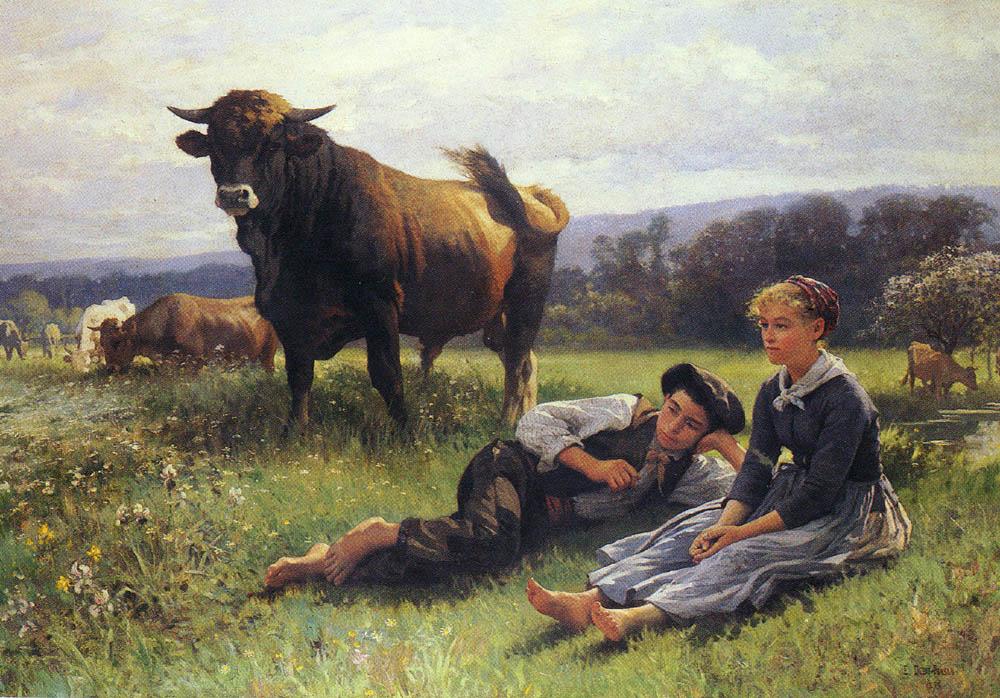 Herdsman's Repose :: Edouard Bernard Debat-Ponsan - Village life ôîòî