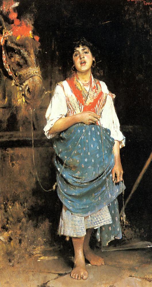A Peasant Girl with a Horse :: Gaetano Esposito - Village life ôîòî