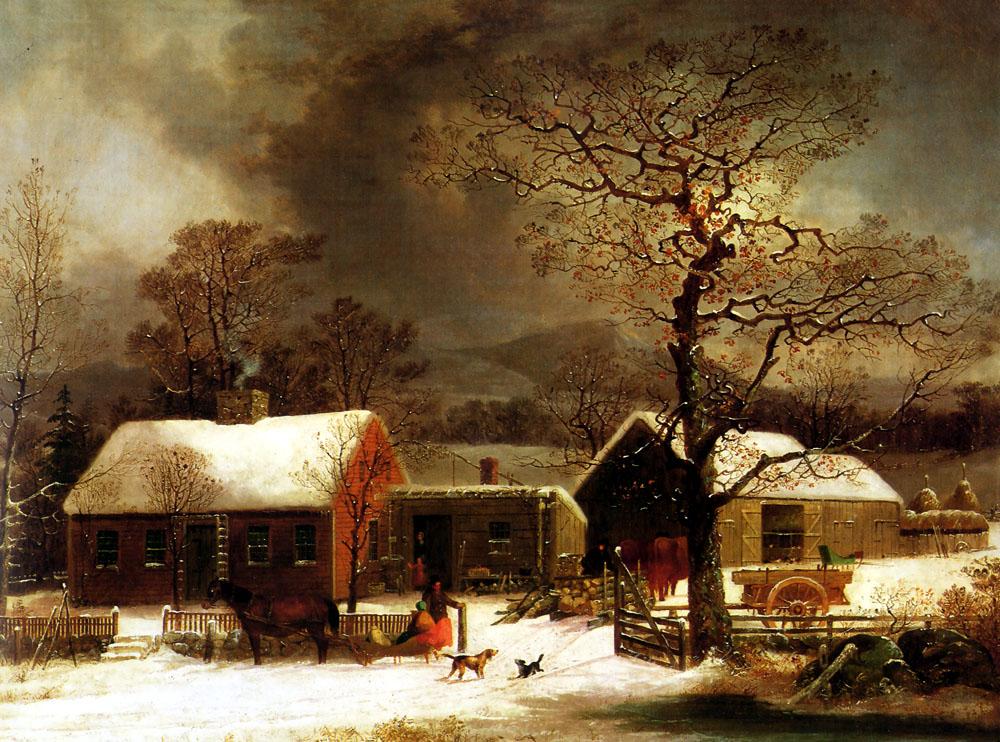 Winter Scene in New Haven :: George Henry Durrie - Village life ôîòî