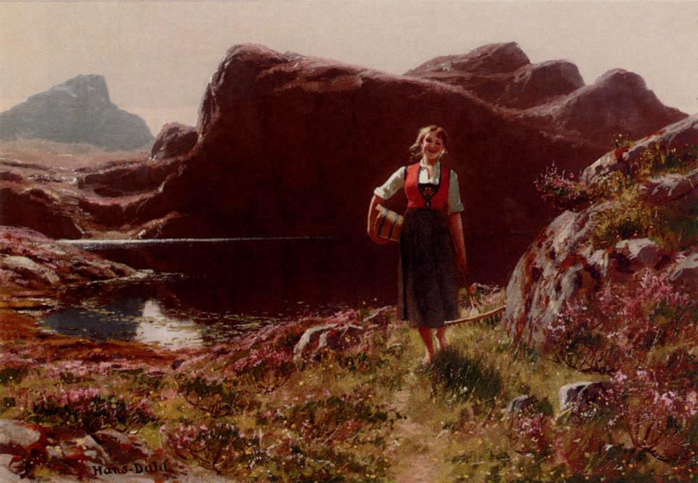 A Girl On A Sunlit Track Before A Fjord :: Hans Dahl - Village life ôîòî