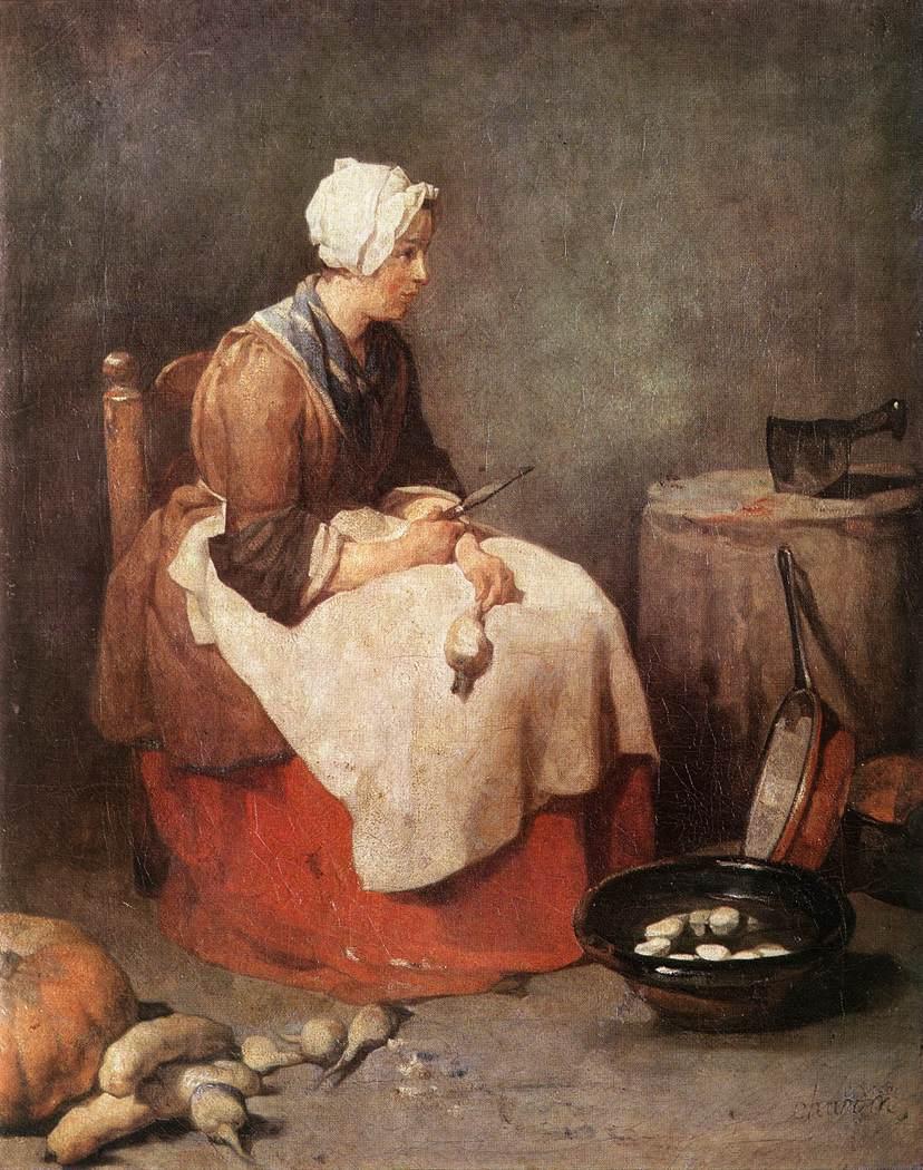 Girl Peeling Vegetables :: Jean-Baptiste-Simeon Chardin - Village life ôîòî
