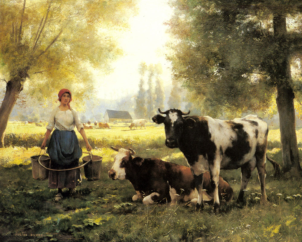 A Milkmaid with her Cows on a Summer Day :: Julien Dupre - Village life ôîòî