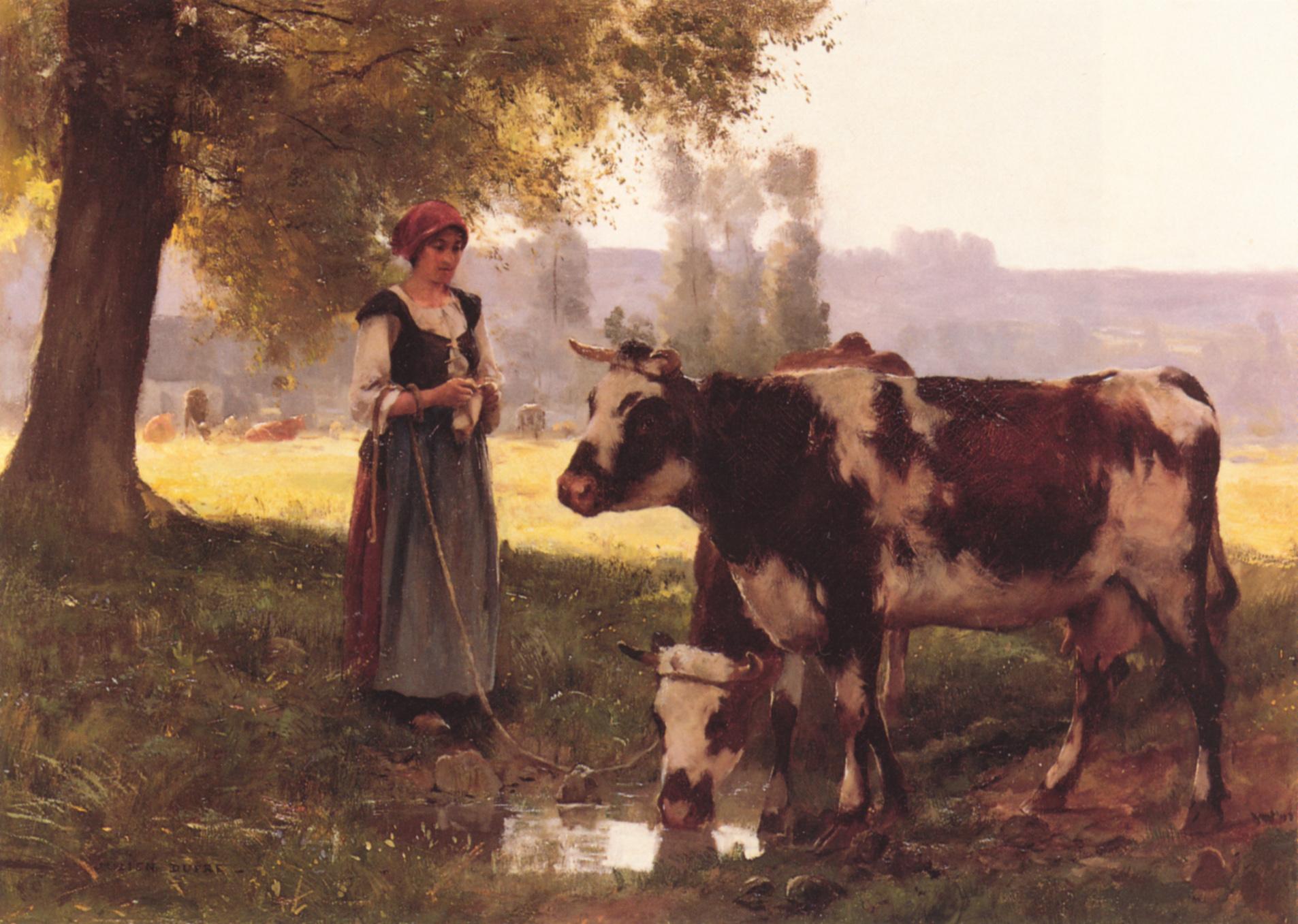 The shepherdess of cows :: Julien Dupre  - Village life ôîòî