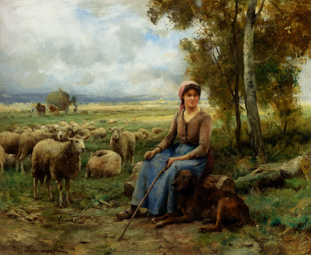 Shepherdess Watching Over Her Flock :: Julien Dupre - Village life ôîòî