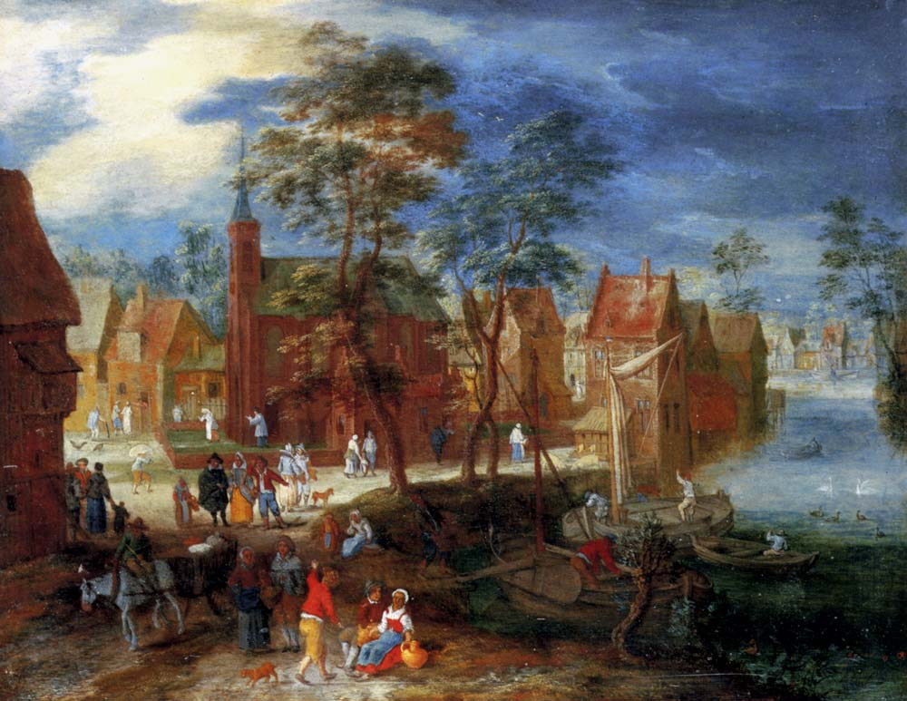 A village scene with peasants strolling by a river bank :: Pieter Gysels - Village life ôîòî