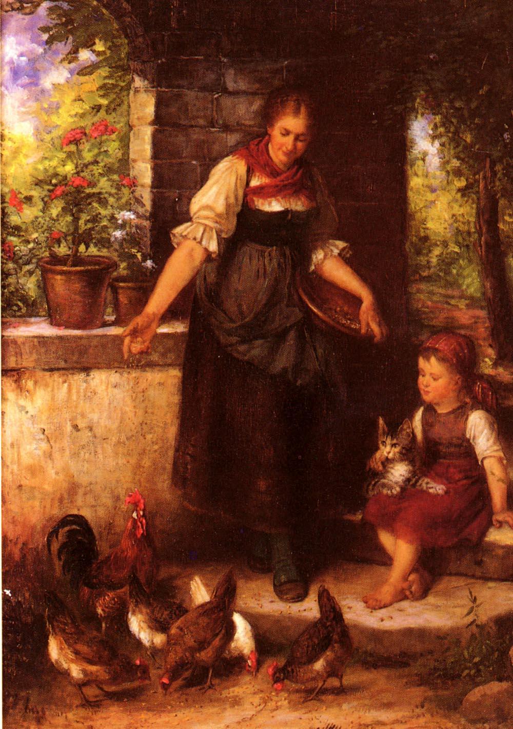 Feeding the Chickens :: Rudolf Epp - Village life ôîòî