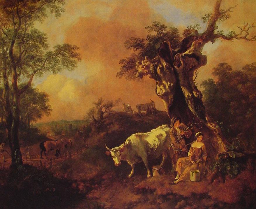 Landscape with a Woodcutter and Milkmaid :: Thomas Gainsborough - Village life ôîòî