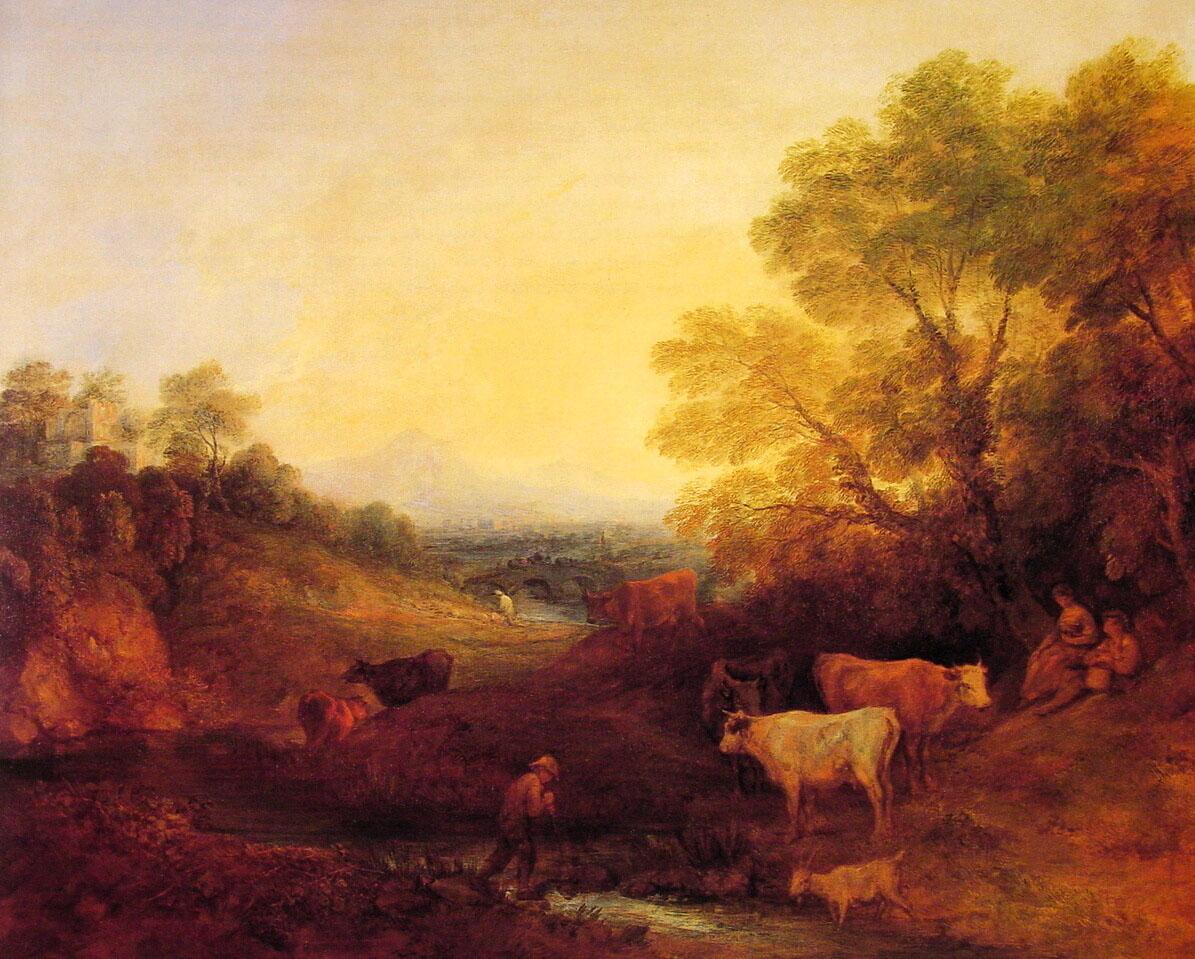 Landscape with Cattle :: Thomas Gainsborough - Village life ôîòî