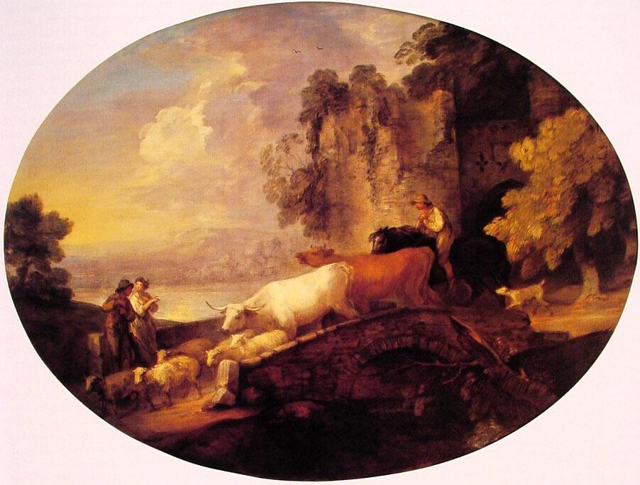 River Landscape with Rustic Lovers :: Thomas Gainsborough - Village life ôîòî