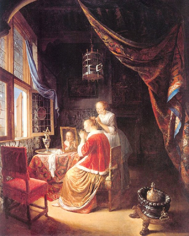The Lady at her Dressing-Table :: Gerrit Dou - Interiors in art and painting ôîòî