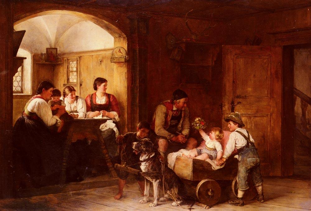 Family scene :: Hugo Engl - Interiors in art and painting ôîòî