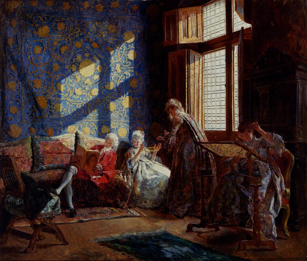 The Embroiderers :: Ignacio Leon y Escosura - Interiors in art and painting ôîòî