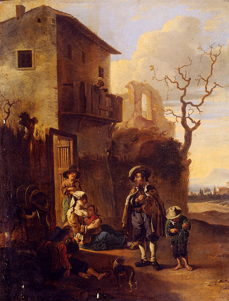 Travelers Resting By A House, With Architectural Ruins Beyond :: Anthonie Goubau - Architecture ôîòî