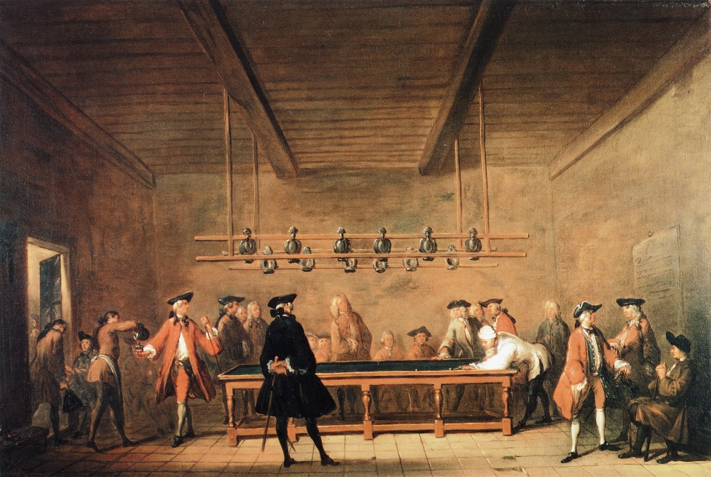 The Game of Billiards :: Jean-Baptiste-Simeon Chardin - Interiors in art and painting ôîòî
