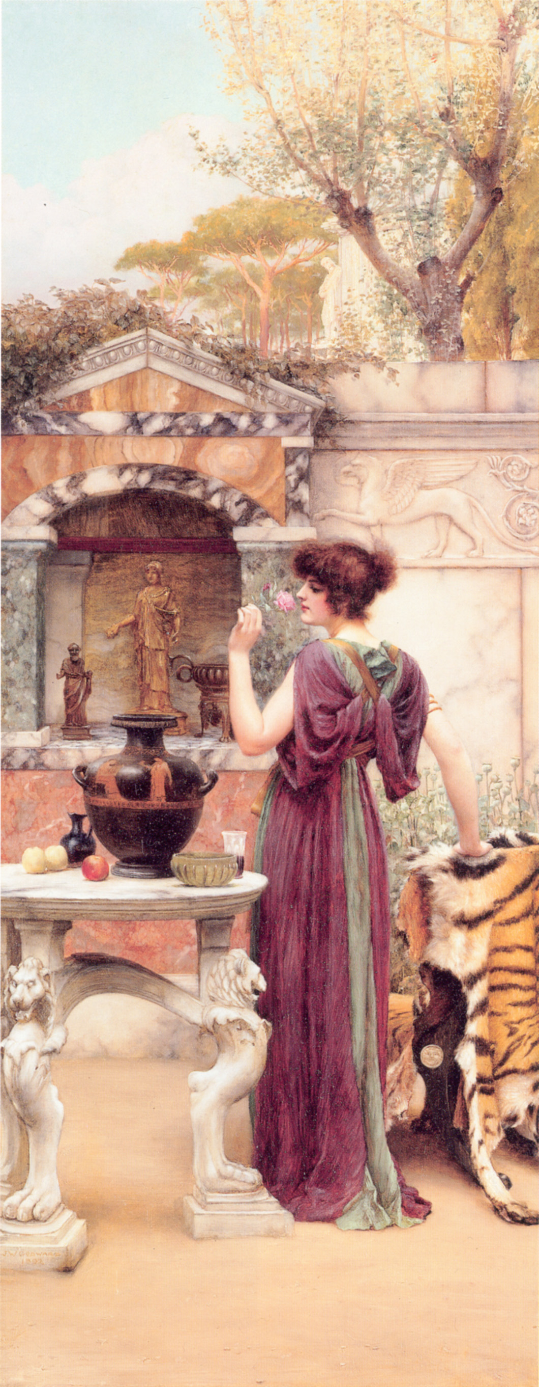 At the Garden Shrine, Pompeii :: John William Godward - Antique world scenes ôîòî