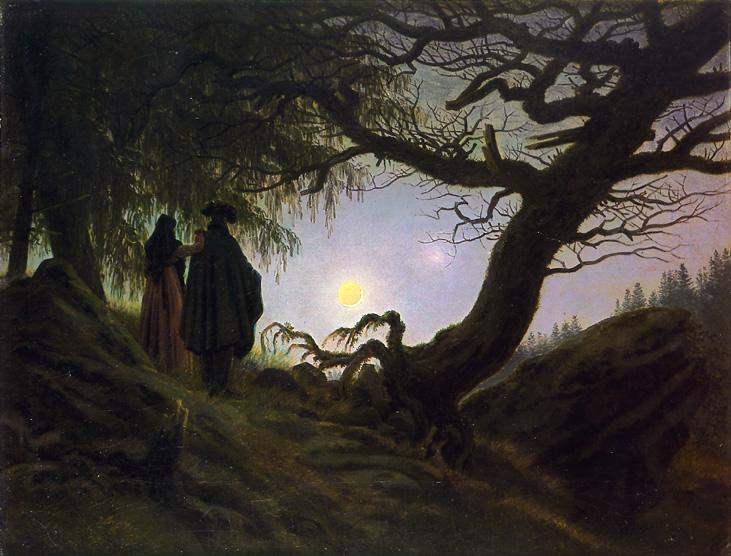 Man and Woman Contemplating the Moon :: Caspar David Friedrich  - Night landscapes ôîòî