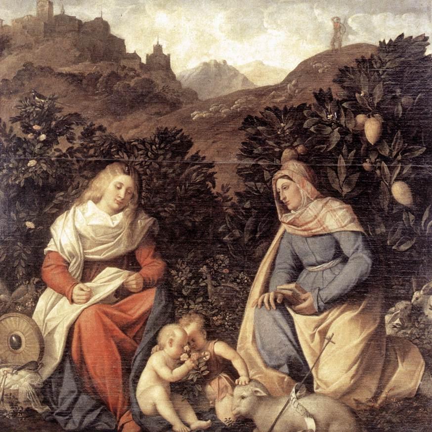 Sacred Conversation :: Giovanni Cariani - 2 women portraits 16th century hall ôîòî