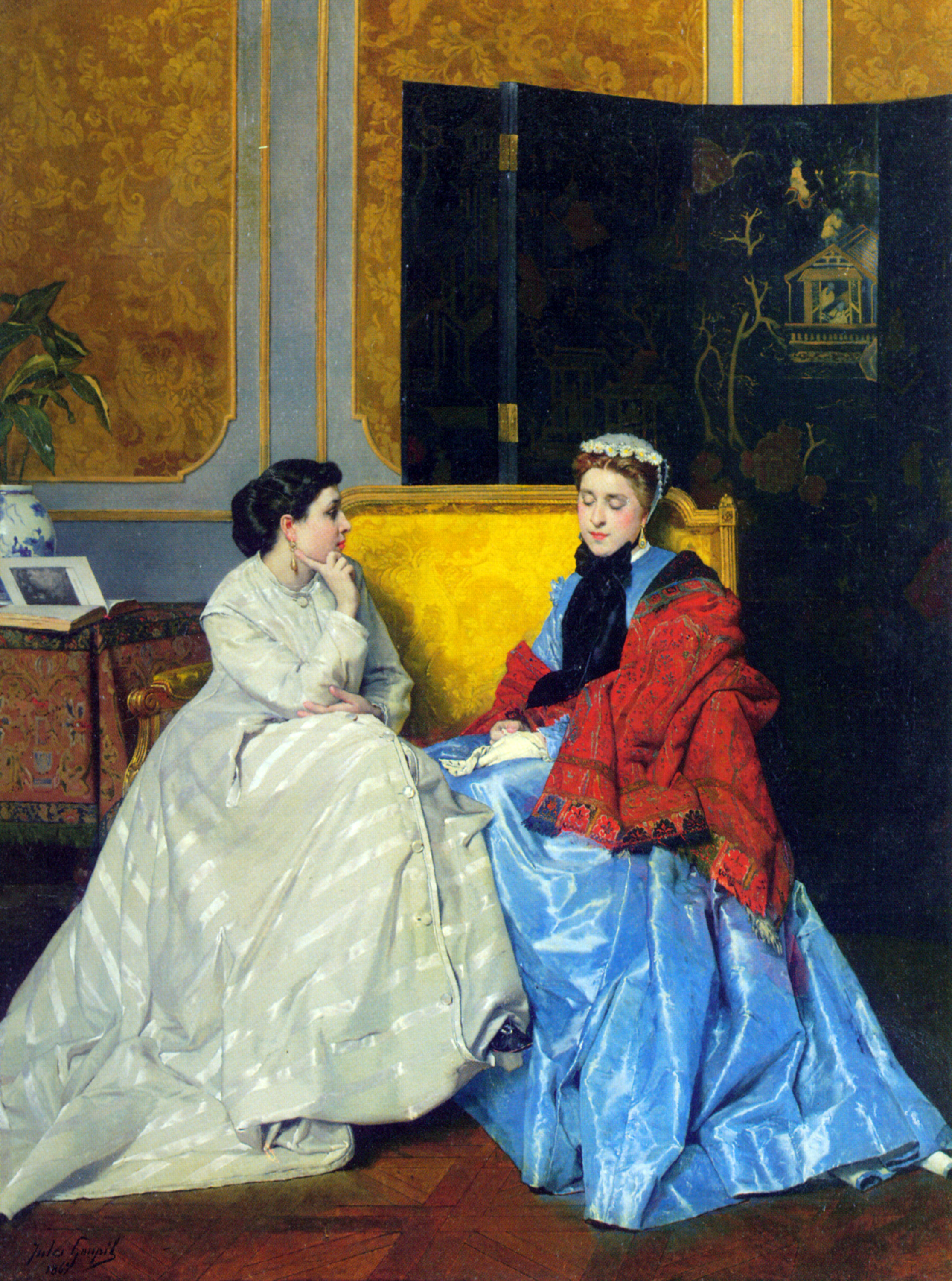 Confidences :: Jules Adolphe Goupil - Interiors in art and painting ôîòî