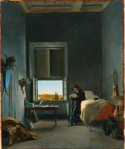 The Artist in His Room at the Villa Medici, Rome :: Lion Cogniet - Interiors in art and painting ôîòî