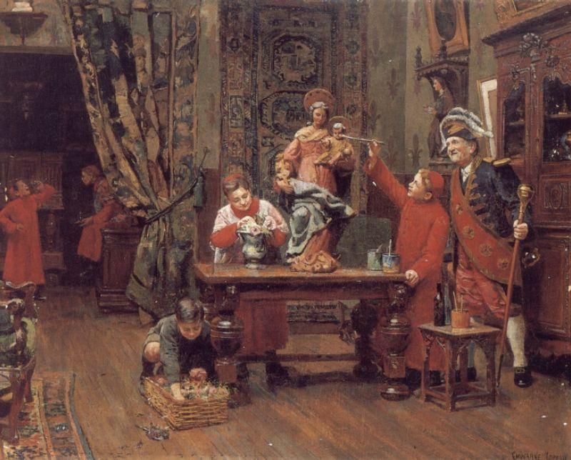 Choirboys in the Sacristy :: Paul Charles Chocarne-Moreau - Interiors in art and painting ôîòî