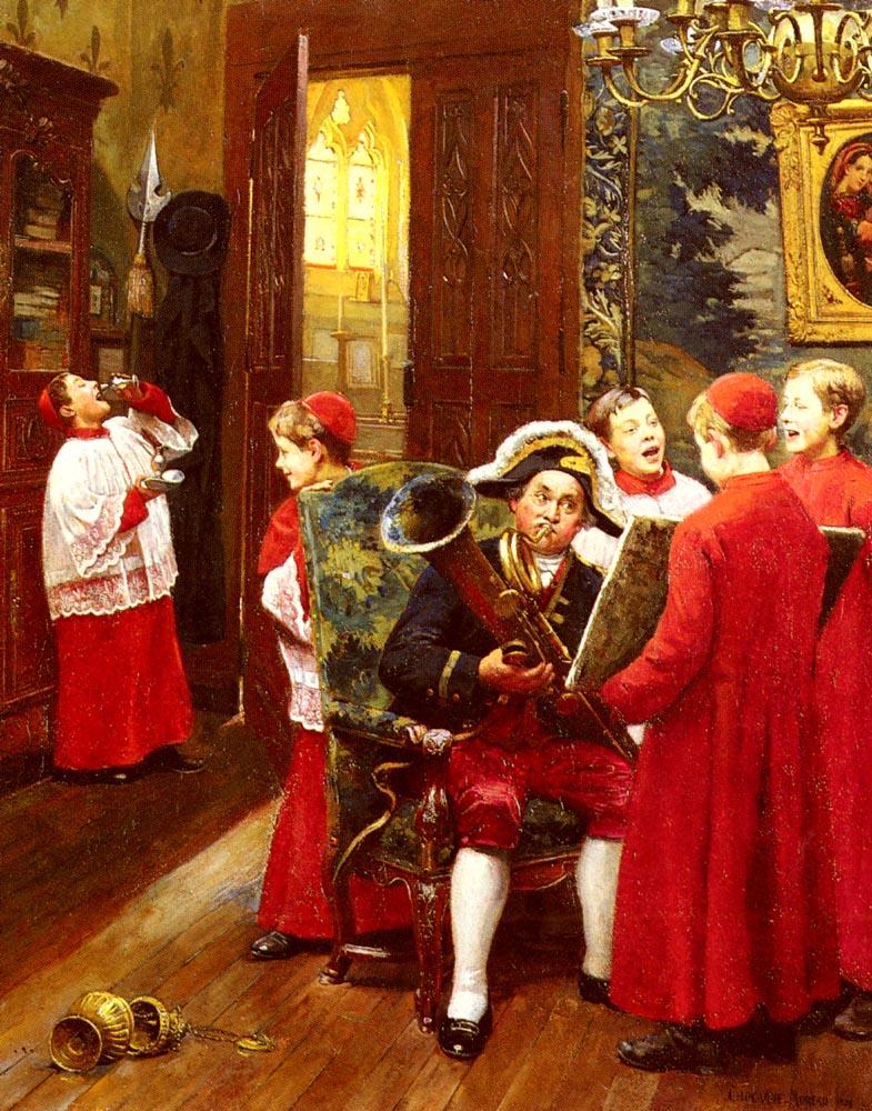 La Ripitition Ginirale :: Paul Charles Chocarne-Moreau - Interiors in art and painting ôîòî