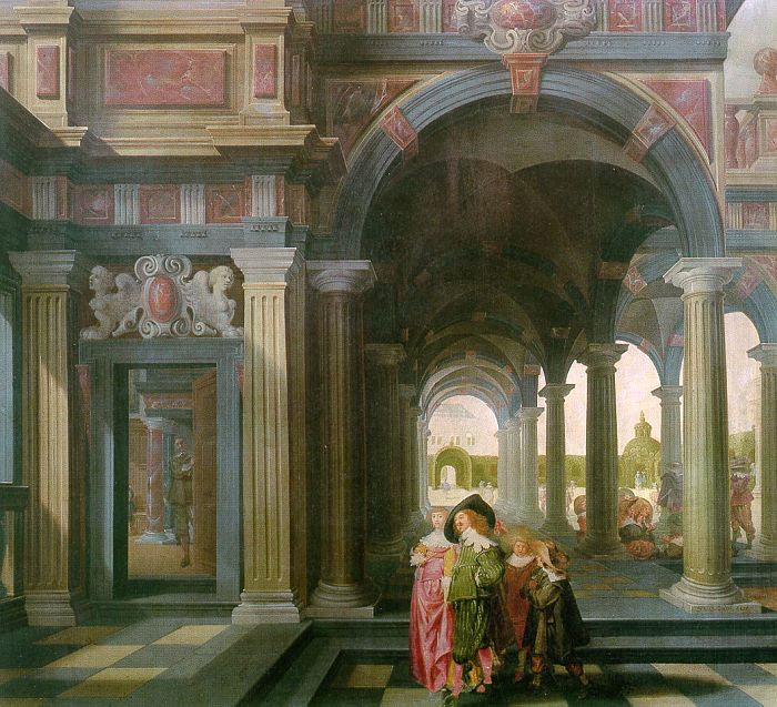 Palace Courtyard with Figures :: Dirck van Delen - Architecture ôîòî