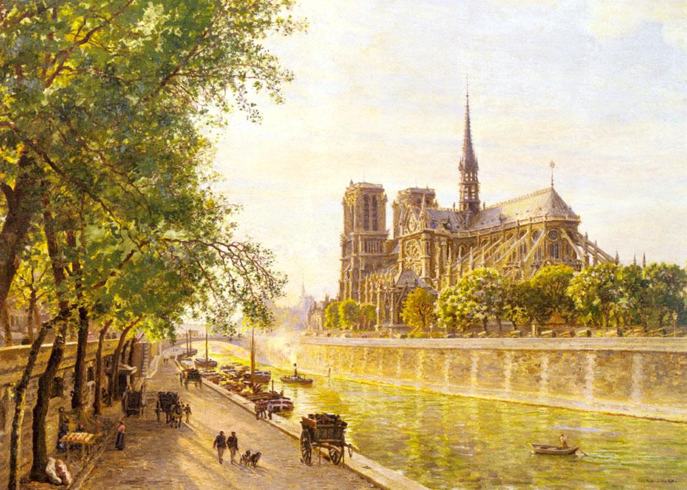 L'lle de la Cite and the Cathedral of Notre Dame, Paris as seem from Quai Montebello :: Marie-Franзois-Firmin Girard - Architecture ôîòî