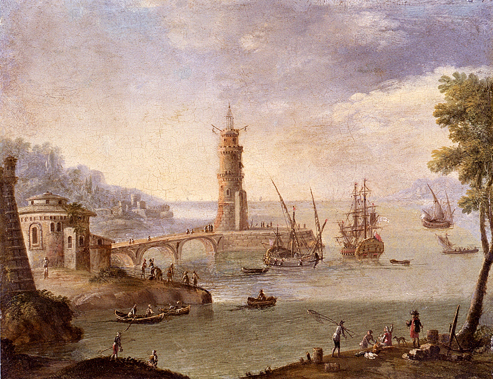 Harbour Scene With Ships By A Fortification :: Orazio Grevenbroeck - Architecture ôîòî