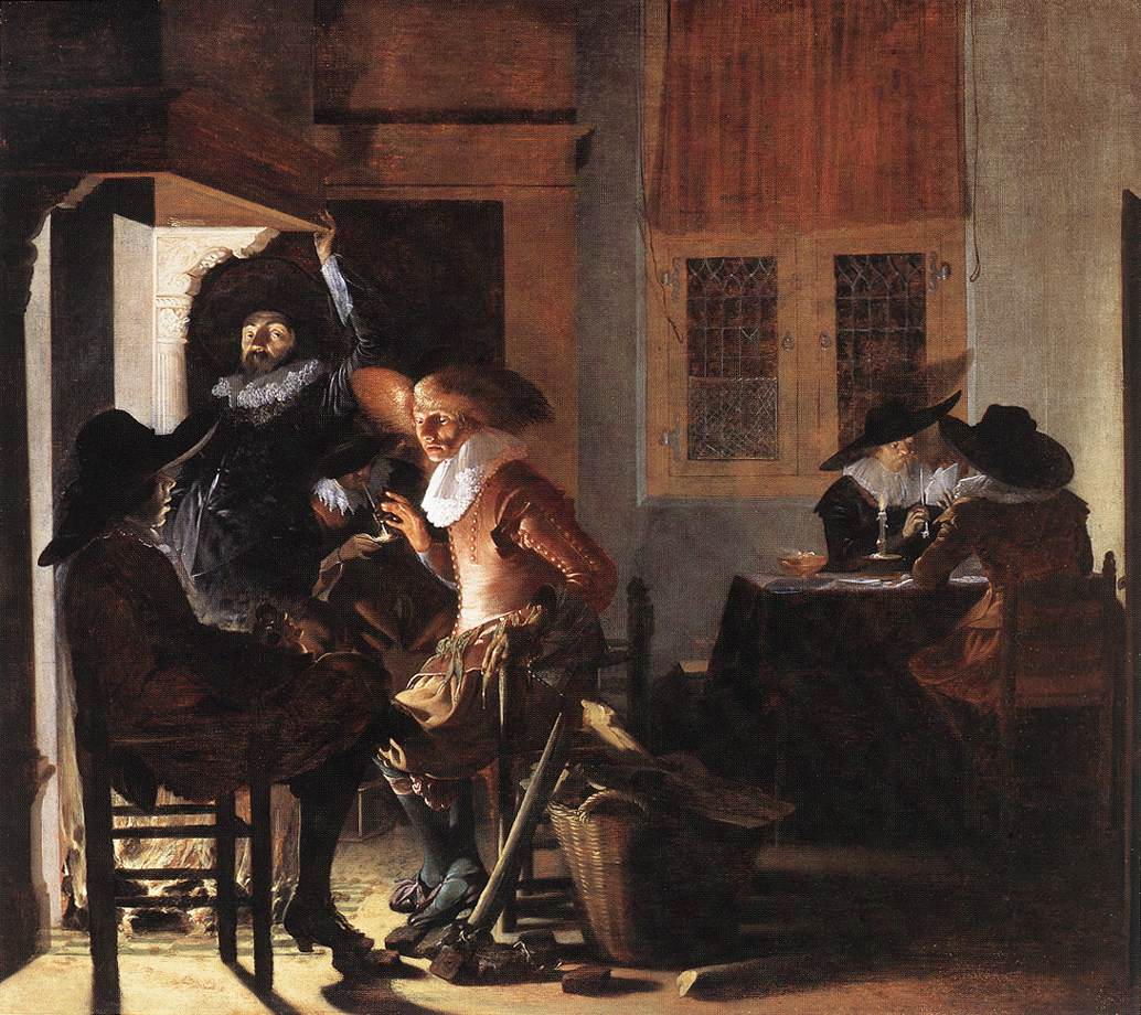 Soldiers beside a Fireplace :: Willem Cornelisz Duyster - Interiors in art and painting ôîòî