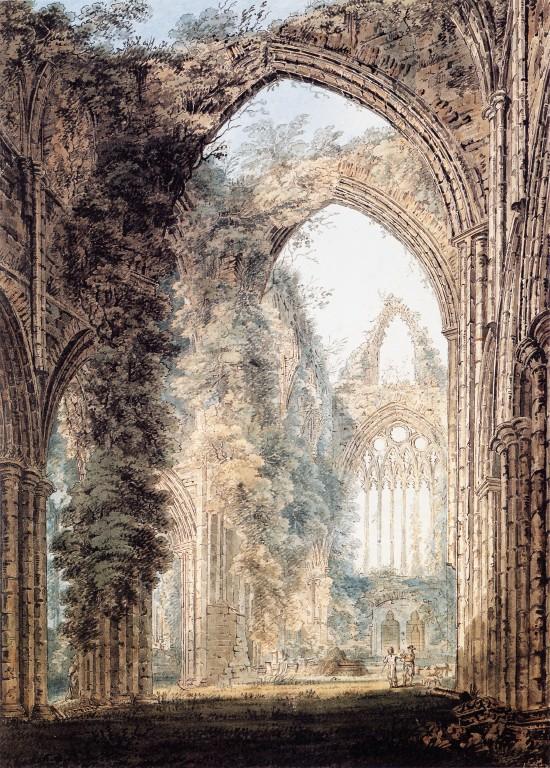 Interior of Tintern Abbey looking toward the West Window :: Thomas Girtin - Ruins ôîòî