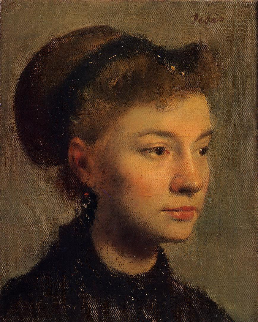 Head of a Young Woman :: Edgar Degas  - 6 woman's portraits hall ( The middle of 19 centuries ) in art and painting ôîòî