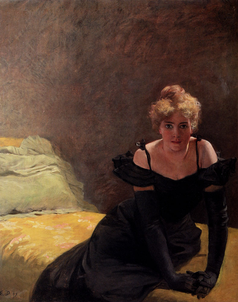 Girl on a bad :: Emile Doepler Jnr  - 7 female portraits ( the end of 19 centuries ) in art and painting ôîòî