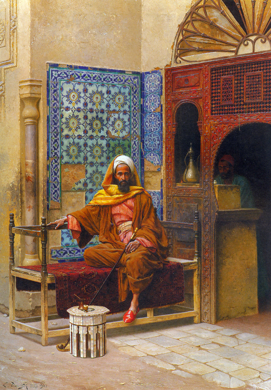 The Smoker :: Ludwig Deutsch - scenes of Oriental life (Orientalism) in art and painting ôîòî