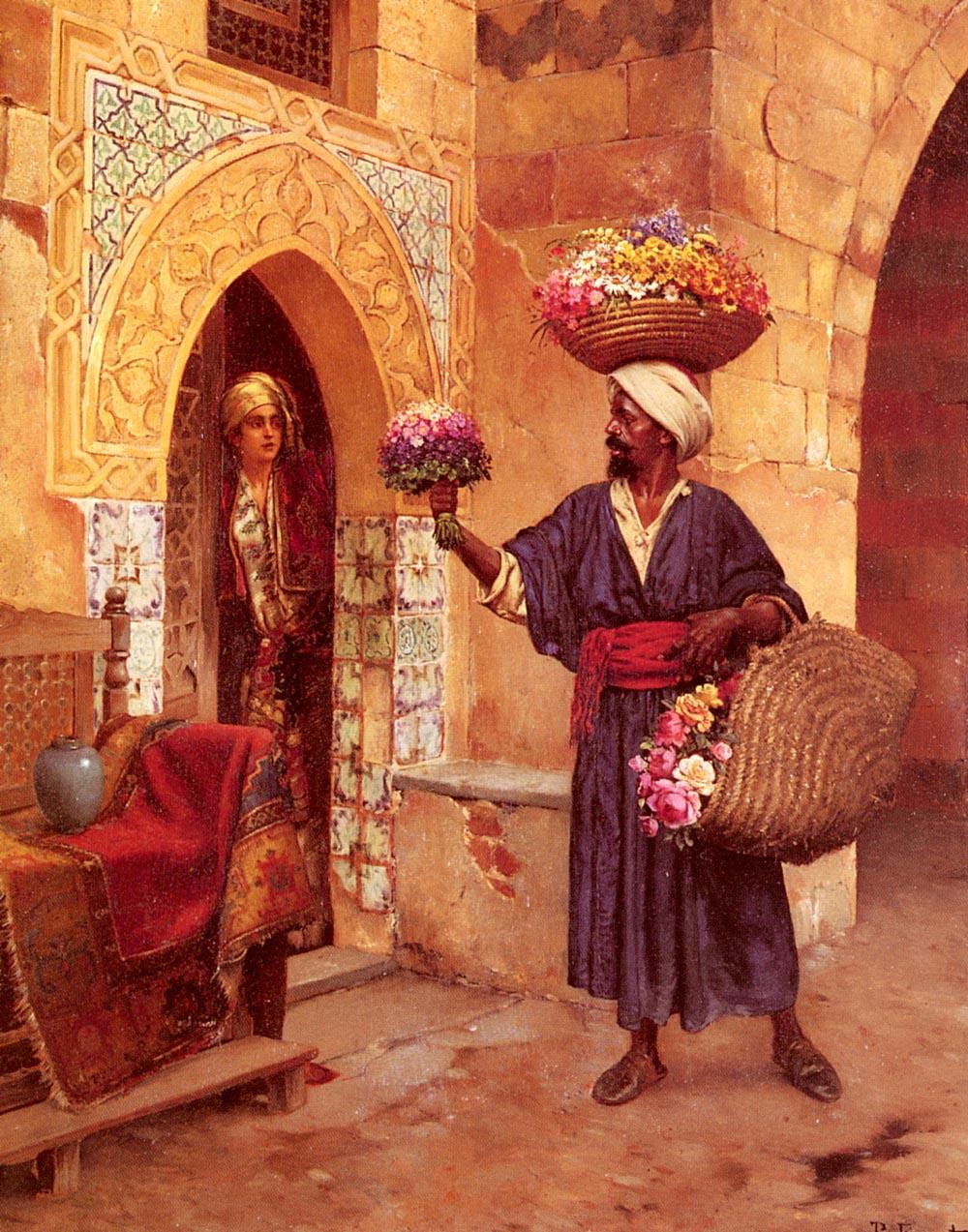 The Flower Merchant :: Rudolf Ernst - scenes of Oriental life (Orientalism) in art and painting ôîòî