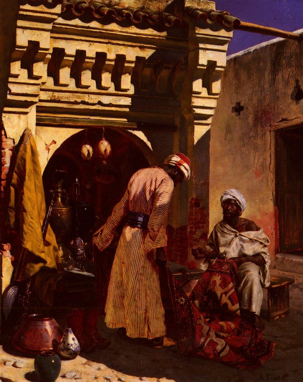 The Rug Merchant :: Rudolf Ernst - scenes of Oriental life (Orientalism) in art and painting ôîòî