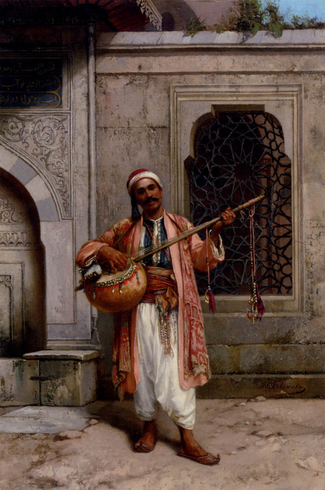 A Musician Playing Before A Mosque In Constantinople :: Stanislaus von Chlebowski - scenes of Oriental life (Orientalism) in art and painting ôîòî
