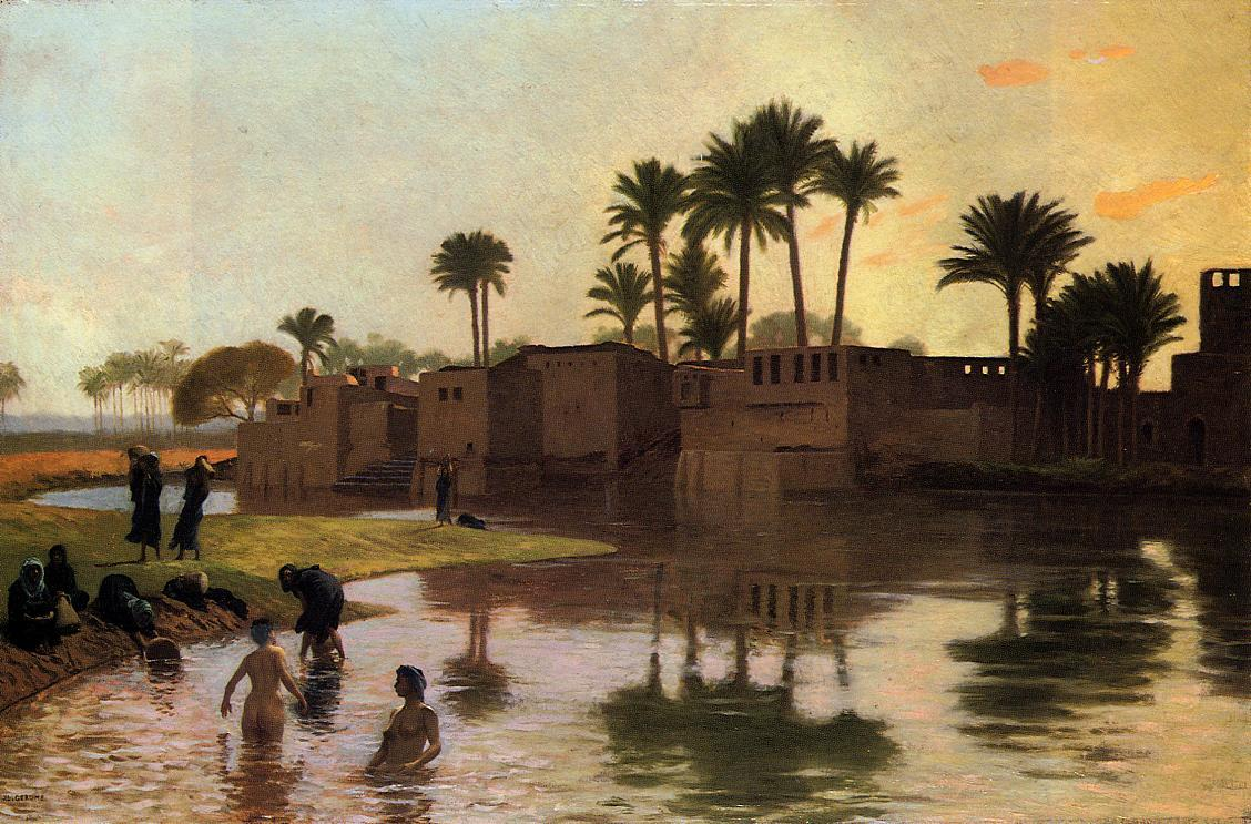 Bathers by the Edge of a River :: Jean-Leon Gerome - Arab women (Harem Life scenes) in art  and painting ôîòî