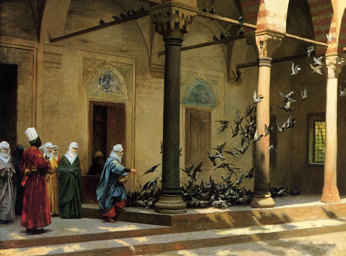 Harem Women Feeding Pigeons in a Courtyard :: Jean-Leon Gerome - Arab women (Harem Life scenes) in art  and painting ôîòî
