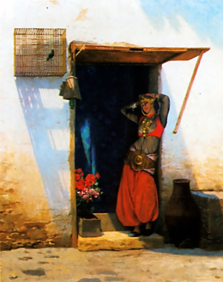 Woman of Cairo at her Door :: Jean-Leon Gerome - Arab women (Harem Life scenes) in art  and painting ôîòî